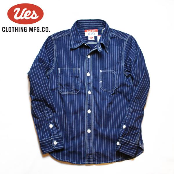 【Ues(ウエス)】WABASH STRIPE WORK SHIRT ウォバッシュストライプワークシャツ L/S 長袖ワークシャツ VINTAGE ヴィンテージ ネイビー