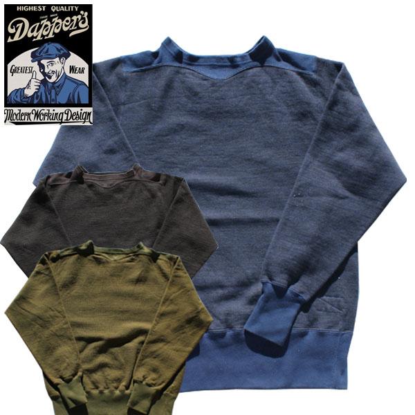 【Dapper's(ダッパーズ)】Double V Athletic Cotton/Wool Sweat LOT1362 コットンウールアスレチックスウェット セーター トレーナー BLACK NAVY OLIVE KAHAKI ブラック ネイビー オリーブ カーキ