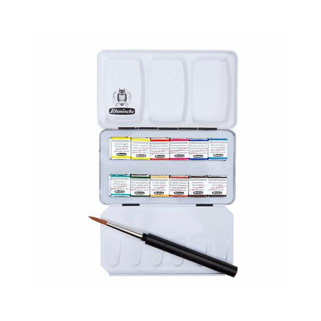 シュミンケ ホラダム固形水彩絵具 12色セット(丸筆付) 74012