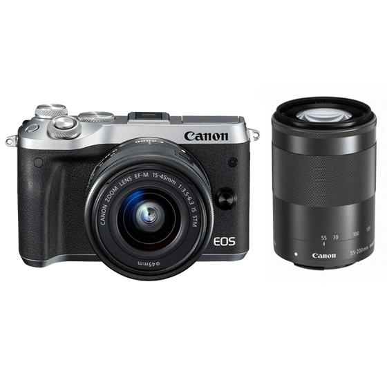Canon キヤノン EOS M6・ダブルズームキット SL(シルバー) ミラーレスカメラ