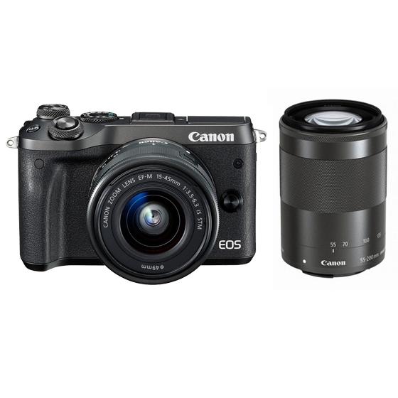 Canon キヤノン EOS M6・ダブルズームキット BK(ブラック) ミラーレスカメラ