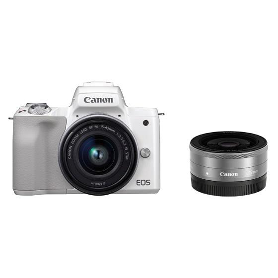 Canon キヤノン EOS Kiss M・ダブルレンズキット(ホワイト) ミラーレスカメラ
