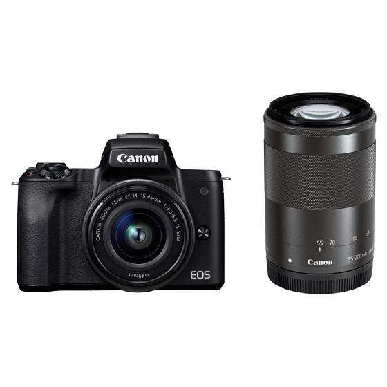 Canon キヤノン EOS Kiss M・ダブルズームキット (ブラック) ミラーレスカメラ