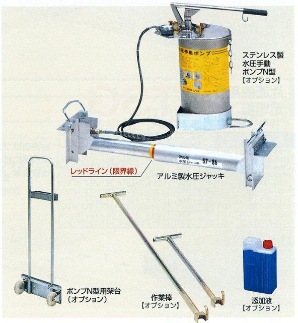 水圧手動ポンプ(ステンレス製N型) アルミ水圧ジャッキ用 ピカコーポレイション