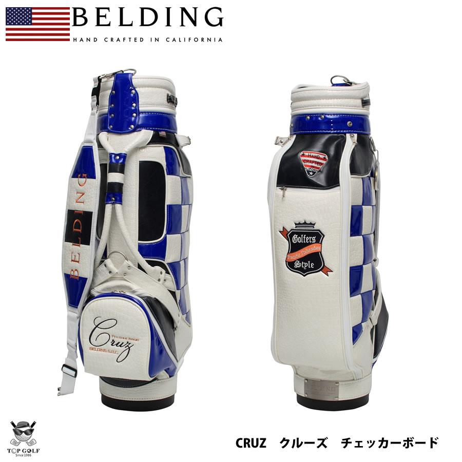 BELDING ベルディング キャディバッグ CRUZ CHECKER BOAD ブルー×ホワイト 8.5型(HBCB-850050)