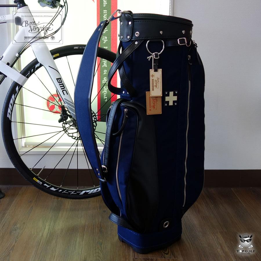【即納】【限定】木の庄帆布 クロスハンドル キャディバッグ ネイビー CROSS HANDLE CADDIE BAG(KHG18-CB01H)