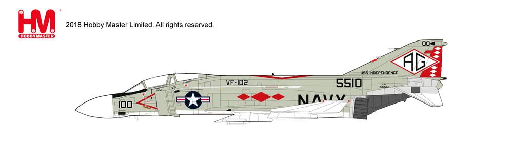 F-4J アメリカ海軍 第102戦闘飛行隊 「ダイアモンドバックス」 空母インディペンデンス搭載 76年 AG100/#155510 1/72 2019年3月15日発売 Hobby Master/ホビーマスター飛行機/模型/完成品 [HA19006]