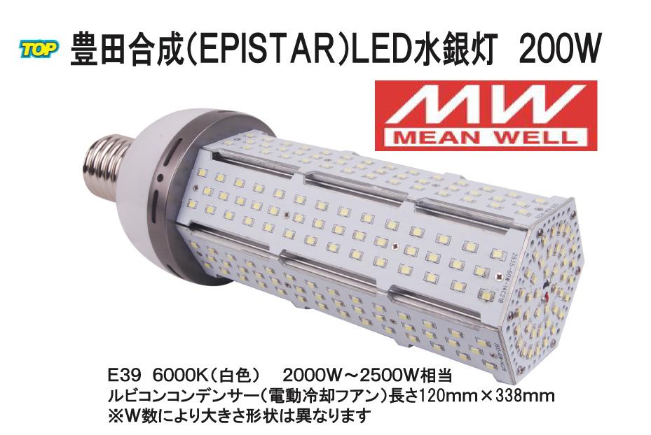 世界最高峰 MWドライバー搭載 Epistar LED水銀灯(コーン型)200W E39 24000LM 2000W~2500W相当 品番TK-TCL-200W