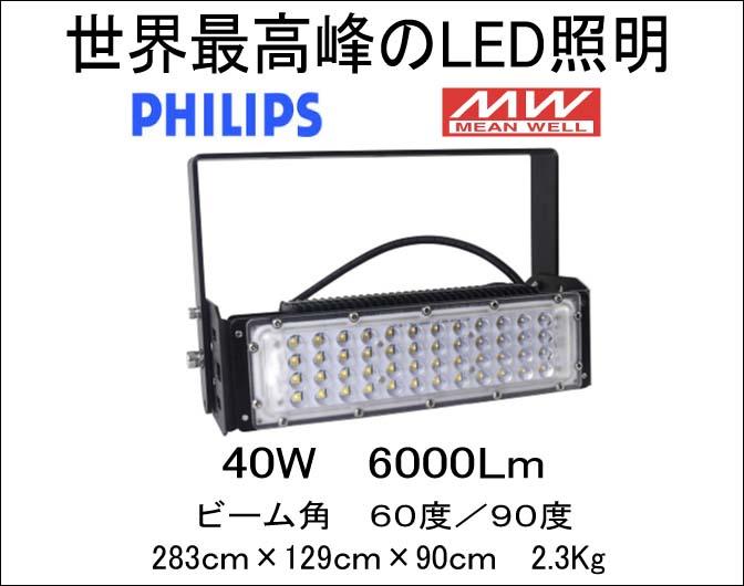 世界最高峰 Philips 3030 SMDLEDチップ MWドライバー搭載 LED投光器 45W IP65防水 6750Lm
