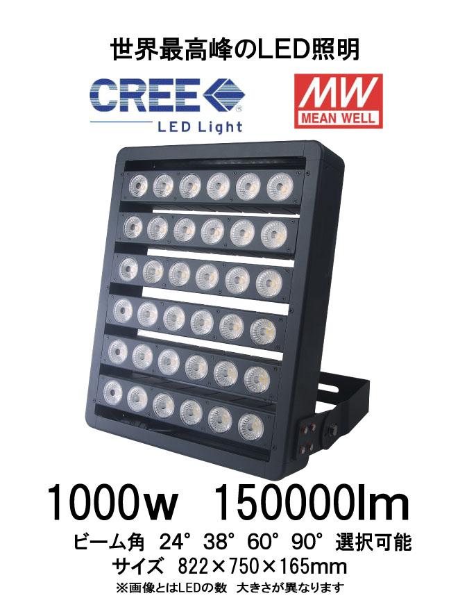 世界最高峰 CRRELEDチップ MWドライバー搭載 LED投光器 1000W IP65防水 150000Lm