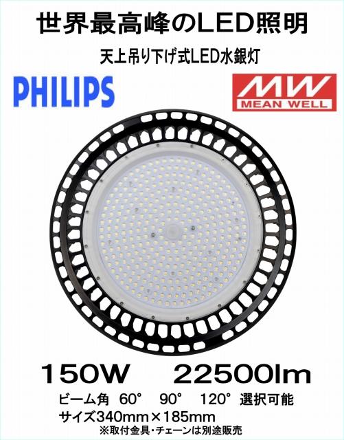 世界最高峰 PHILIPSチップ MWドライバー搭載 LED吊り下げ式水銀灯 150W 22500Lm