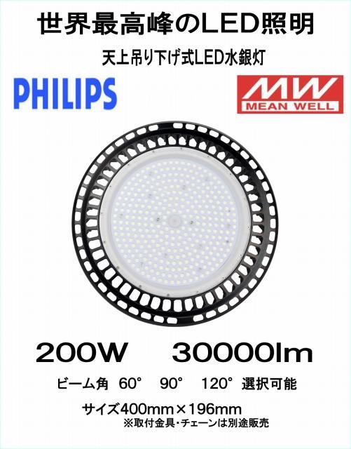世界最高峰 PHILIPSチップ MWドライバー搭載 LED吊り下げ式水銀灯 200W 30000Lm