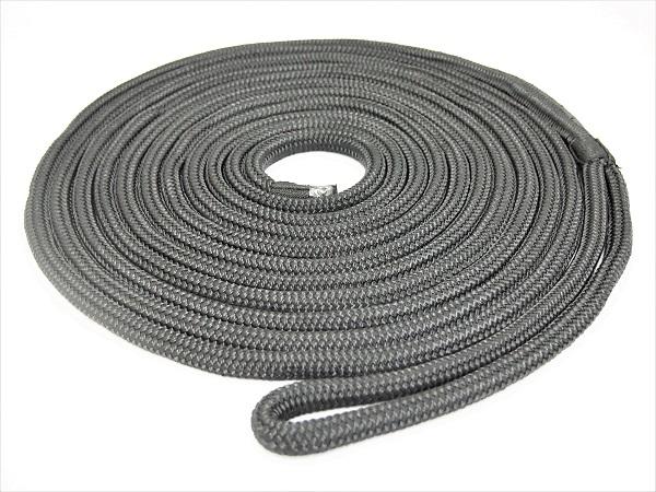 【係船ロープ】ダブルブレイド ポリエステル ブラックラインロープ 20mm 15m(アイスプライス加工)