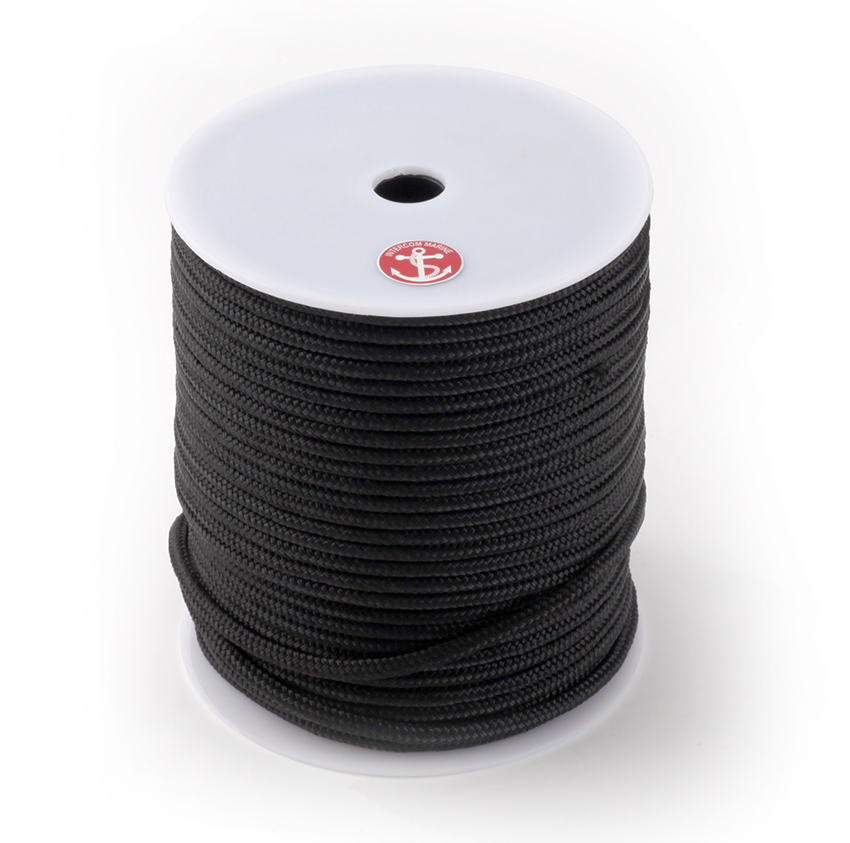 キャンペーンもお見逃しなく ドッグラインとして人気のロープ 大容量ボビン巻きでストックに便利 ダブルブレイドポリエステルロープブラック 径10mm 100mボビン巻き 贈答品