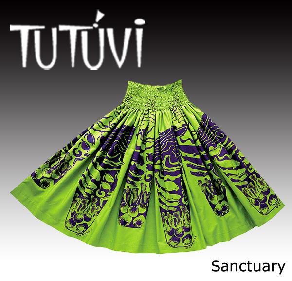 フラダンス パウスカート フラダンス衣装 TUTUVI パウ PFT-293 サンクチュアリ ライム/ネイビー
