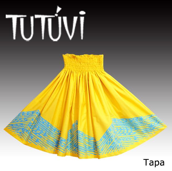 フラダンス衣装 パウスカート フラ スカート パウ ハワイ PFT-447 TUTUVI パウ タパ イエロー ターコイズ 黄 ブルー *丈とゴムの入れ方をお選びください