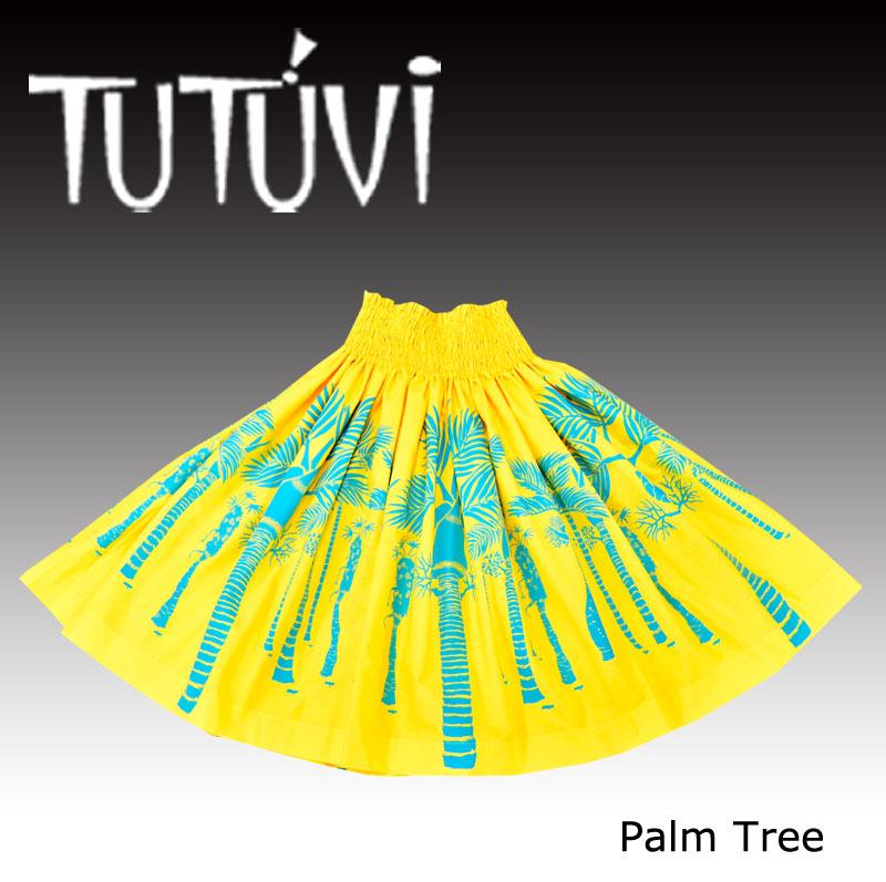 フラダンス衣装 パウスカート スカート フラ パウ TUP-FT-PT TUTUVIパウ パームツリー イエロー アクア 黄