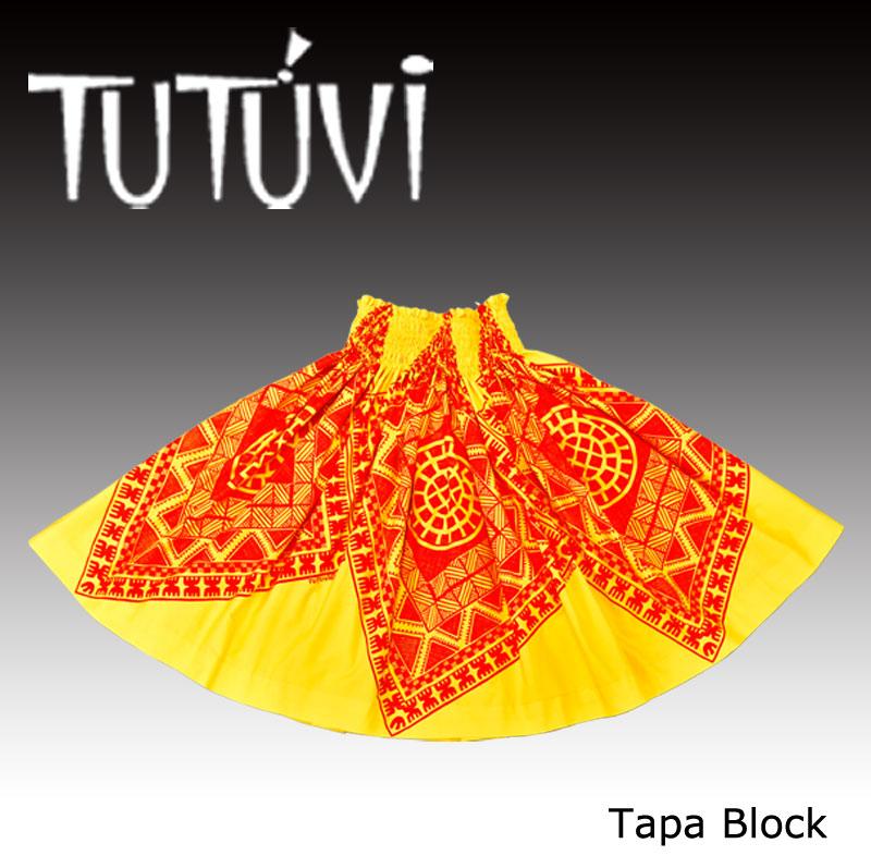 フラダンス衣装 パウスカート スカート フラ パウ TUP-FT-TB TUTUVIパウ タパブロック イエロー レッド 黄 赤