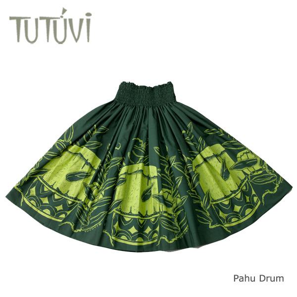 フラダンス パウスカート フラダンス衣装 スカート フラ PFT362 TUTUVI パウ パフドラム パイン グリーン