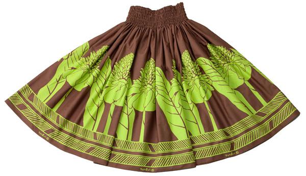フラダンス衣装 パウスカート スカート フラ パウ TUP-FT268 TUTUVIパウ トーチジンジャー ブラウン グリーン 茶 緑