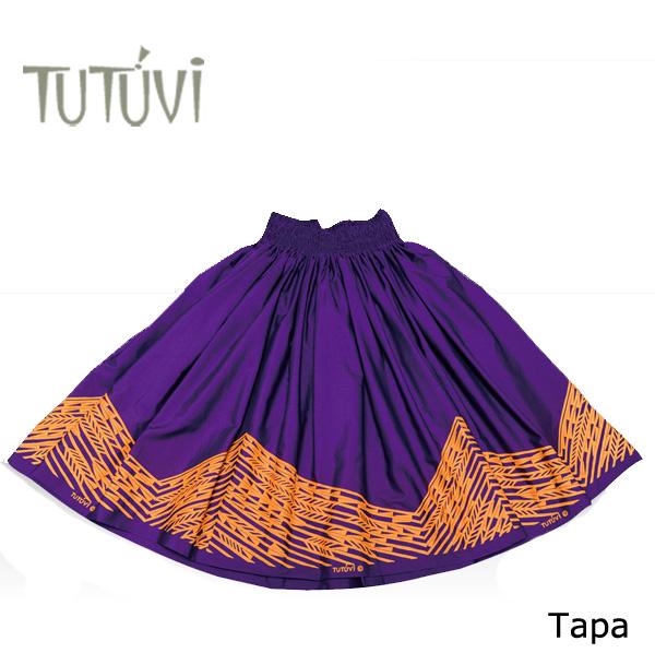 フラダンス衣装 パウスカート スカート フラ パウ オーダー PFT-TAPA-PP TUTUVIパウ タパ パープル ゴールド 紫 黄 *丈とゴムの入れ方をお選びください