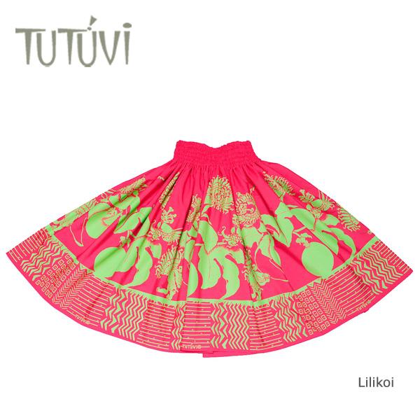 フラダンス衣装 パウスカート スカート フラ パウ オーダー お仕立て PFT-237 TUTUVIパウ リリコイ ウォーターメロン グリーン ピンク 黄緑*丈とゴムの入れ方をお選びください