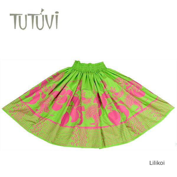 フラダンス衣装 パウスカート スカート フラ パウ オーダー お仕立て PFT302 TUTUVI パウ リリコイ グリーン ピンク 緑 +丈とゴムの入れ方をお選びください