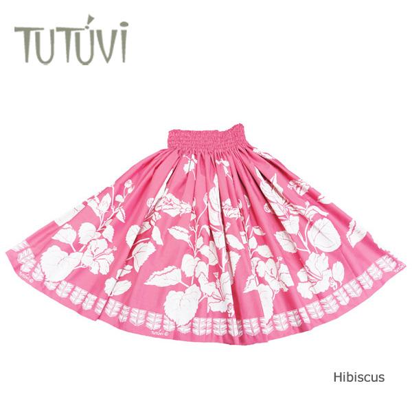 フラダンス パウスカート フラダンス衣装 スカート フラ PFT331 TUTUVI パウ ハイビスカス ローズホワイト