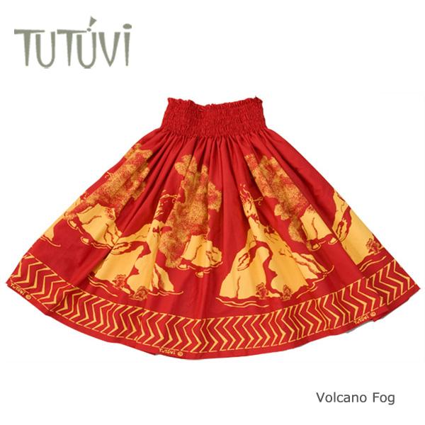 フラダンス衣装 パウスカート スカート フラ パウ オーダー お仕立て TUTUVIパウ PFT-366 ボルケーノフォグ レッド ゴールド 赤 黄*丈とゴムの入れ方をお選びください