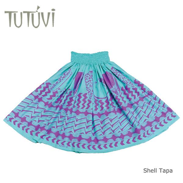 フラダンス衣装 パウスカート スカート フラ パウ オーダー  PFT377 TUTUVIパウ シェルタパ シーグリーン パープル *丈とゴムの入れ方をお選びください