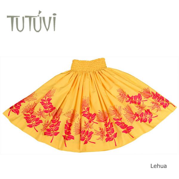 フラダンス衣装 パウスカート スカート フラ パウ オーダー お仕立て PFT394 TUTUVI パウ レフア ゴールド レッド 黄 赤 *丈とゴムの入れ方をお選びください