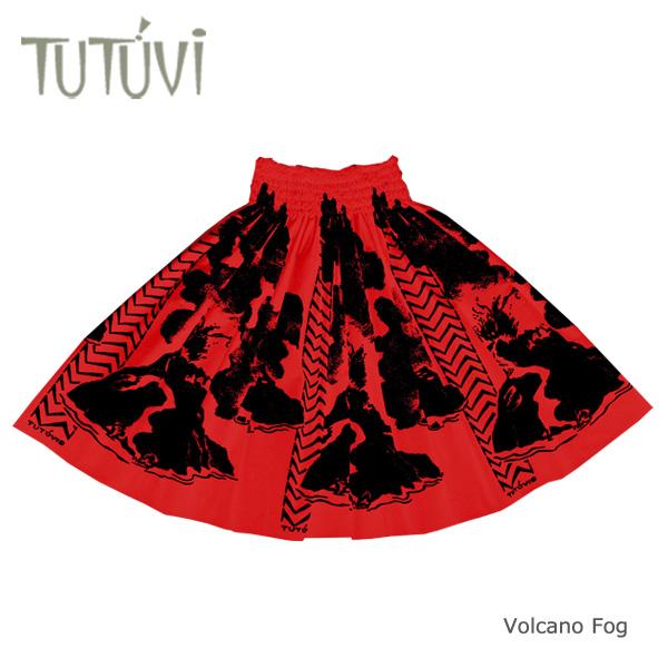 フラダンス衣装 パウスカート スカート フラ パウ オーダー お仕立て TUTUVIパウ PFT-413 ボルケーノフォグ2 レッド ブラック 赤 黒