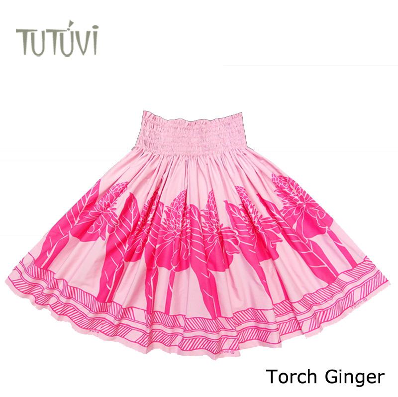 フラダンス衣装 パウスカート スカート フラ パウ TUP-FT453TUTUVIパウ 柄:トーチジンジャー/色:ダスティローズ・ピンク *丈とゴムの入れ方をお選びください