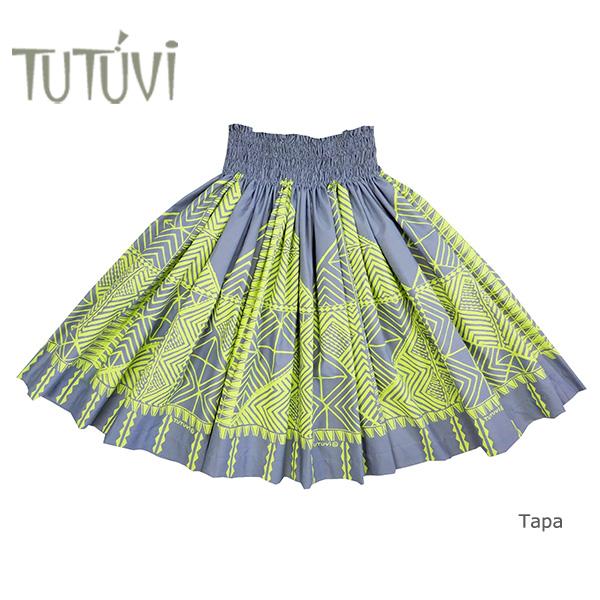 フラダンス衣装 パウスカート スカート フラ パウ TUP-FT461 TUTUVIパウ 柄:タパ/色:チャコール・ライム