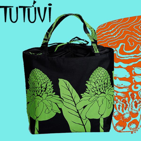 フラダンスレッスンバッグ オーダートートバッグ 開口部巾着付き TUTUVI JLK-FT150 トーチジンジャー ブラック・グリーン