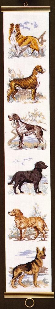 OOE クロスステッチ刺繍キット 67427 / 67428 犬柄 ベルプル タペストリー 【取り寄せ/納期40~80日程度】 デンマークの刺しゅうメーカー「オーレンシュレーガー(O. Oehlenschlägers Eftf. / Oehlenschlager)」製ししゅうキット イヌ Dog
