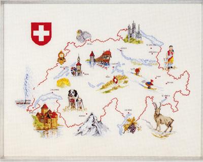 "OOE十字花刺綉刺綉配套元件09817地圖SWISS瑞士Switzerland丹麥的刺綉廠商""orenshurega""(O.Oehlenschlägers Eftf./Oehlenschlager)在shisyu配套元件數額以及花毯"