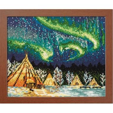 Olympusクロスステッチ刺繍キット7440 「イエローナイフのオーロラ」 (カナダ) オリムパス 一度は訪れたい世界の名所