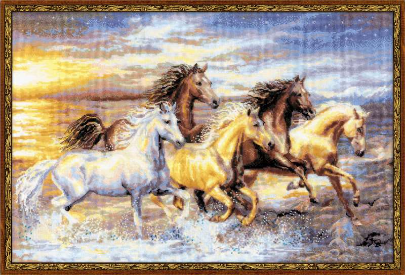 RIOLISクロスステッチ刺繍キット No.100/038 「In The Sunset」 (馬) 【海外取り寄せ/納期1~2ヶ月】2014年(平成26年) 午年