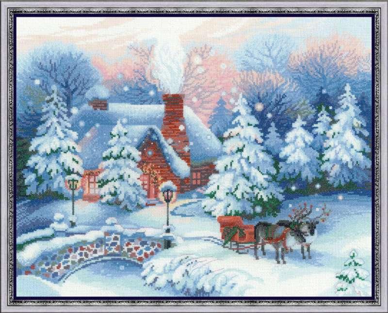 RIOLISクロスステッチ刺繍キット No.100/041 「The Day Before Christmas」 (Christmas Eve クリスマス・イブ X'mas Eve) 【取り寄せ/納期1~2ヶ月】