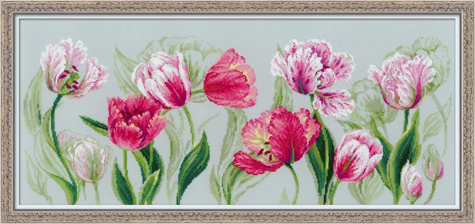 RIOLISクロスステッチ刺繍キット No.100/052 「Spring Tulips」 (春のチューリップ) 【取り寄せ/納期1~2ヶ月】
