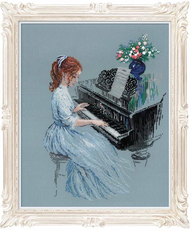 RIOLISクロスステッチ刺繍キット No.100/056 「Adagio」 (アダージョ ピアノ演奏) 【取り寄せ/納期1~2ヶ月】