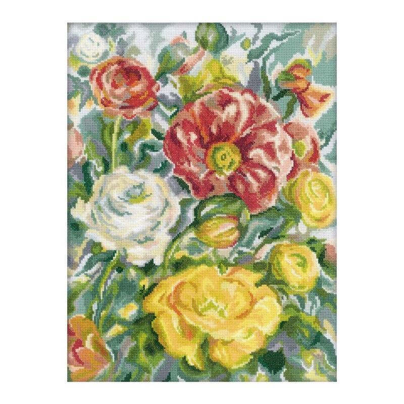 RTO クロスステッチ刺繍キット M244 「Rose Watercolor」 (バラの水彩画 花) 【海外取り寄せ/通常納期40~80日程度】
