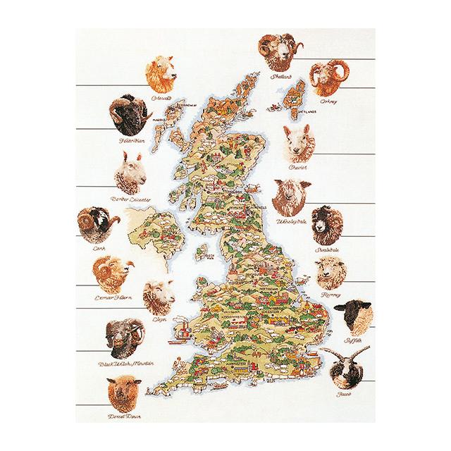 """努尔十字绣刺绣套件 No.1076""""大不列颠国家羊地图""""(英国地图英国地图英国羊羊) 荷兰西娅-gouvernur"""