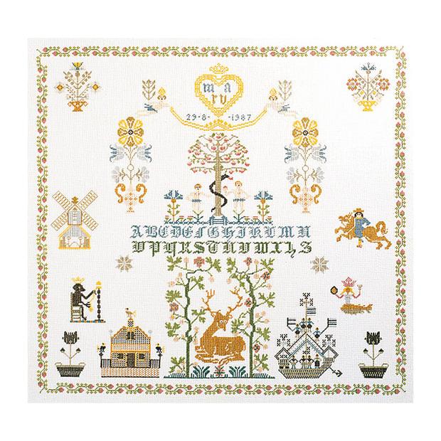 Thea Gouverneur クロスステッチ刺繍キット No.1082 「Sampler」(サンプラー) オランダ テア・グーヴェルヌール 【取り寄せ/納期40~80日程度】