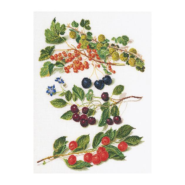 Thea Gouverneur クロスステッチ刺繍キットNo.3063 「Cherries」(さくらんぼ 果物) オランダ テア・グーヴェルヌール 【取り寄せ/納期40~80日程度】