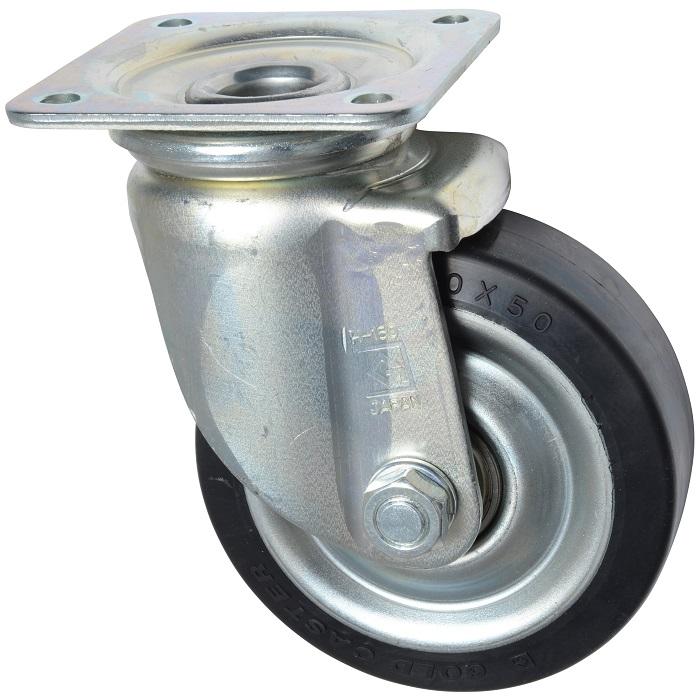 ゴールドキャスター HJ-150RB 重荷重 プレート自在式 ゴム車輪 150mm 荷重300kg