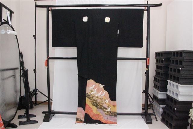 訳あり実店舗キャリー在庫 正絹黒留袖 黒(つる×松) 正装 結婚式 着付けの練習 トッカ