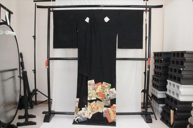 訳あり実店舗キャリー在庫 正絹黒留袖 絹100% 黒(楓×ぼたん×菊×あやめ×鳥) 正装 結婚式 着付けの練習 トッカ