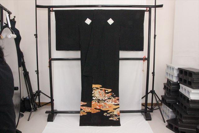 訳あり実店舗キャリー在庫 正絹黒留袖 黒(せんす×松) 正装 結婚式 着付けの練習 トッカ